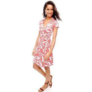 J. Mchuaghlin Coral Lila Wrap Dress Cap Sleeves